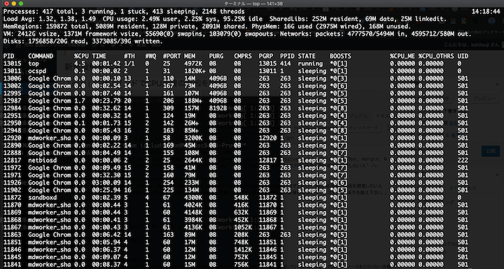 Linuxでのtopコマンド実行例
